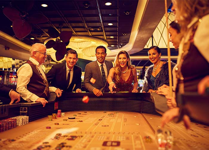 Blackjack table with guests playing