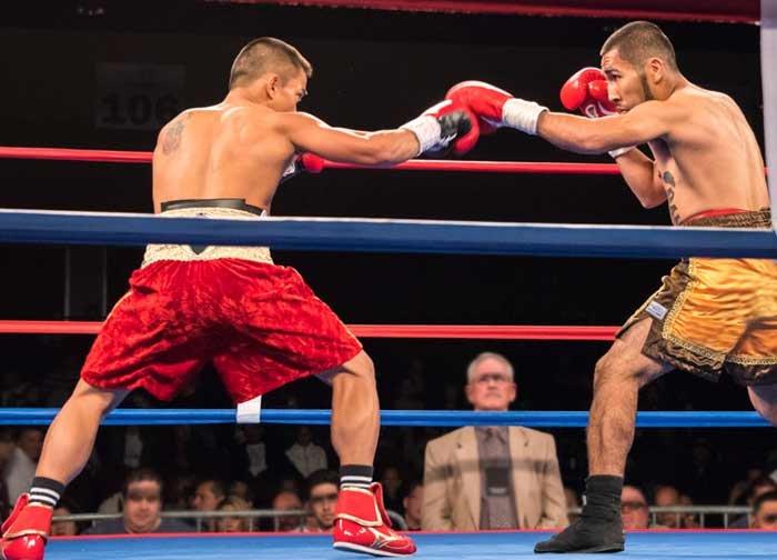 Boxers facing off in the ring at Atlantis